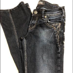 Silver Suki dark denim embellished jeans size 27